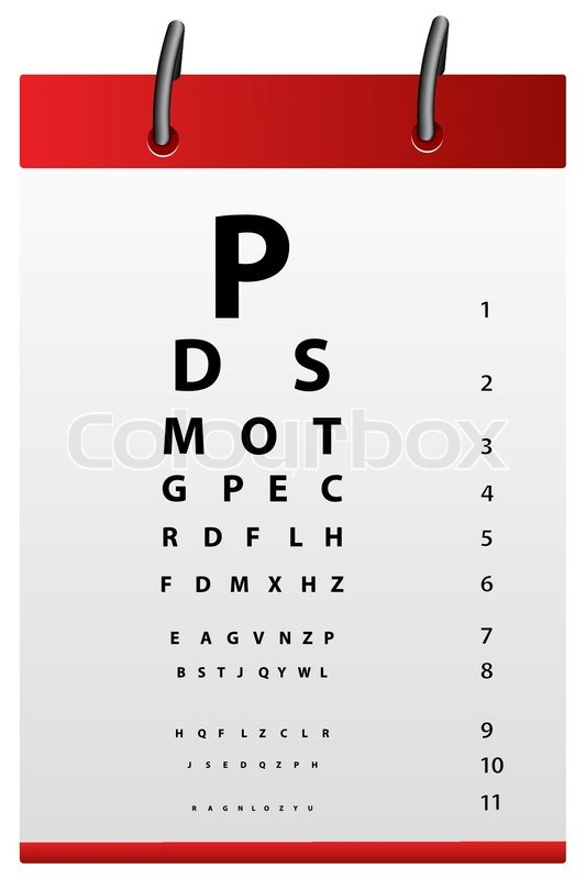 Illustration Of Eye Testing Board On White Background Stock Vector