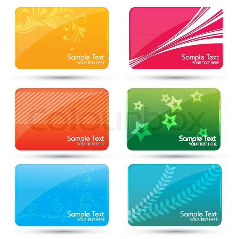 Illustration of colorful business cards on white background stock illustration of colorful business cards on white background vector reheart Image collections