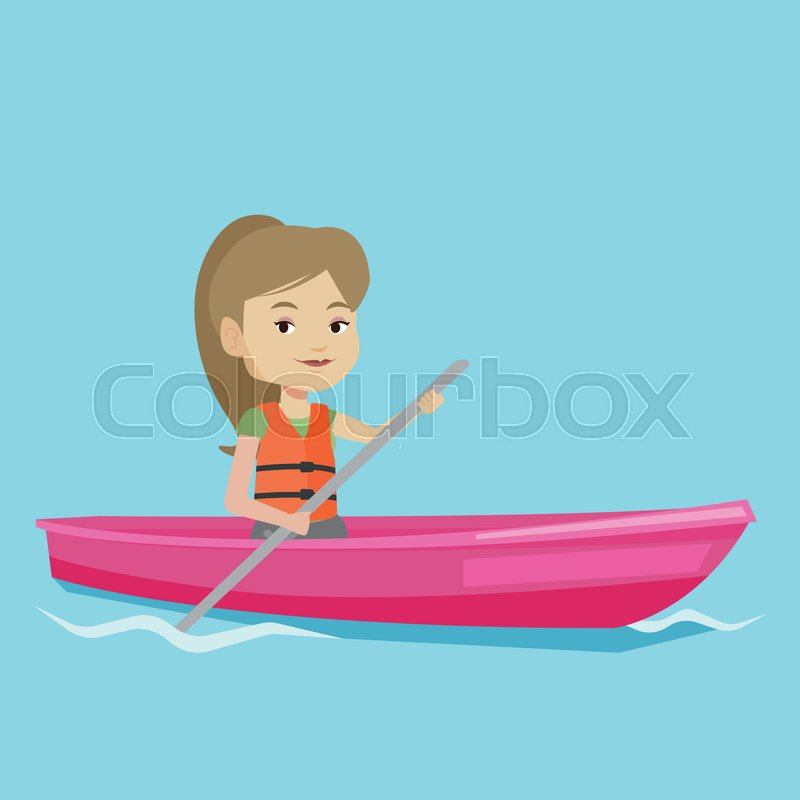 Young caucasian woman riding in a kayak in the river. Woman with skull in hands traveling by kayak. Female kayaker paddling. Woman paddling a canoe. Vector flat design illustration. Square layout, vector