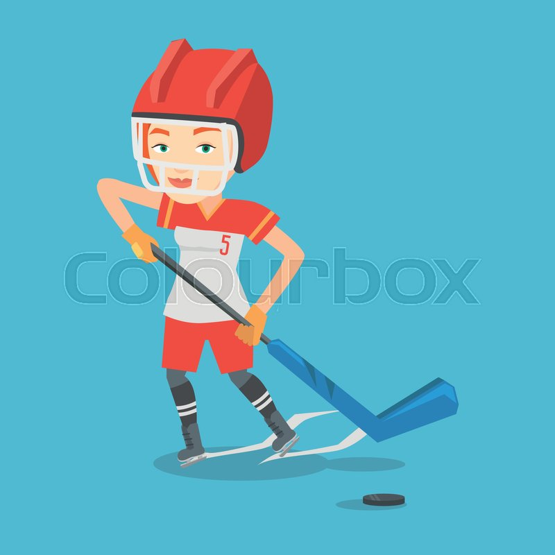 Young caucasian sportswoman playing ice hockey. Female ice hockey player in uniform skating on a rink. Female ice hockey player with a stick and puck. Vector flat design illustration. Square layout, vector