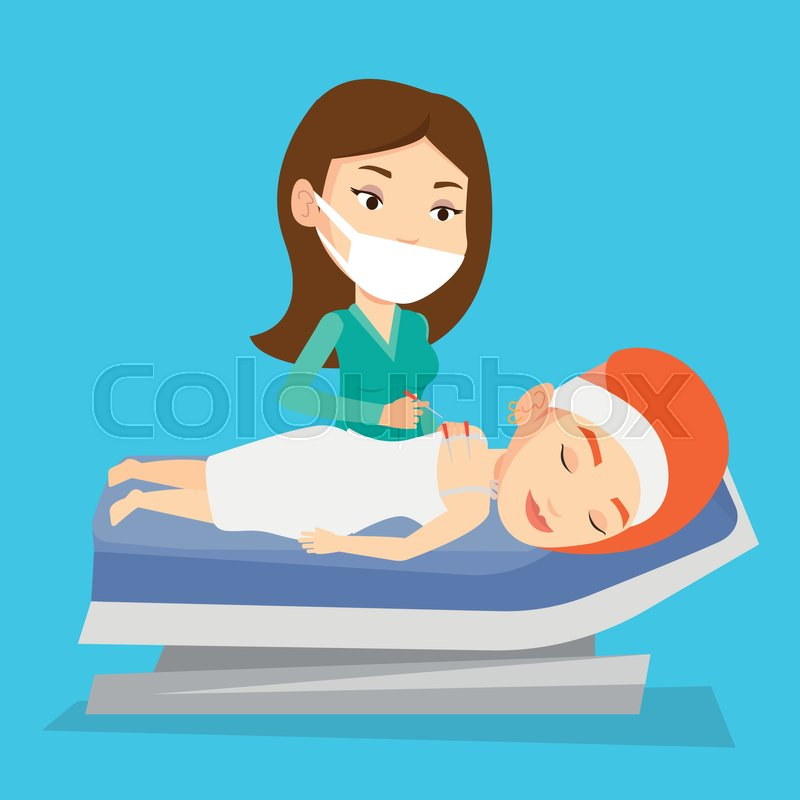 Young caucasian woman getting acupuncture treatment in a spa center. Acupuncturist doctor performing acupuncture therapy on back of a customer in salon. Vector flat design illustration. Square layout, vector