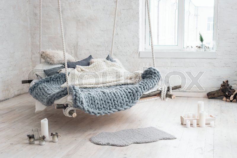 white loft interior in classic scandinavian style hanging bed suspended from the ceiling cozy. Black Bedroom Furniture Sets. Home Design Ideas
