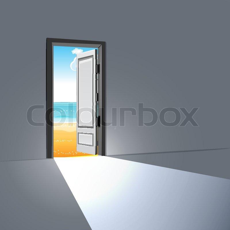 abbildung der offenen t r mit sky vektorgrafik colourbox. Black Bedroom Furniture Sets. Home Design Ideas