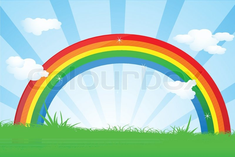 Illustration Of Colorful Rainbow In Beautiful Landscape