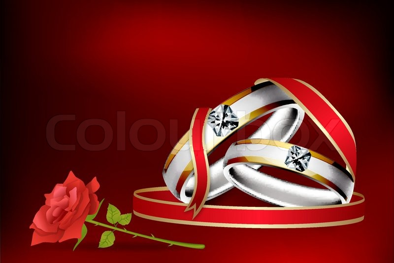 Illustration Of Engagement Ring With Rose Flower With Abstract