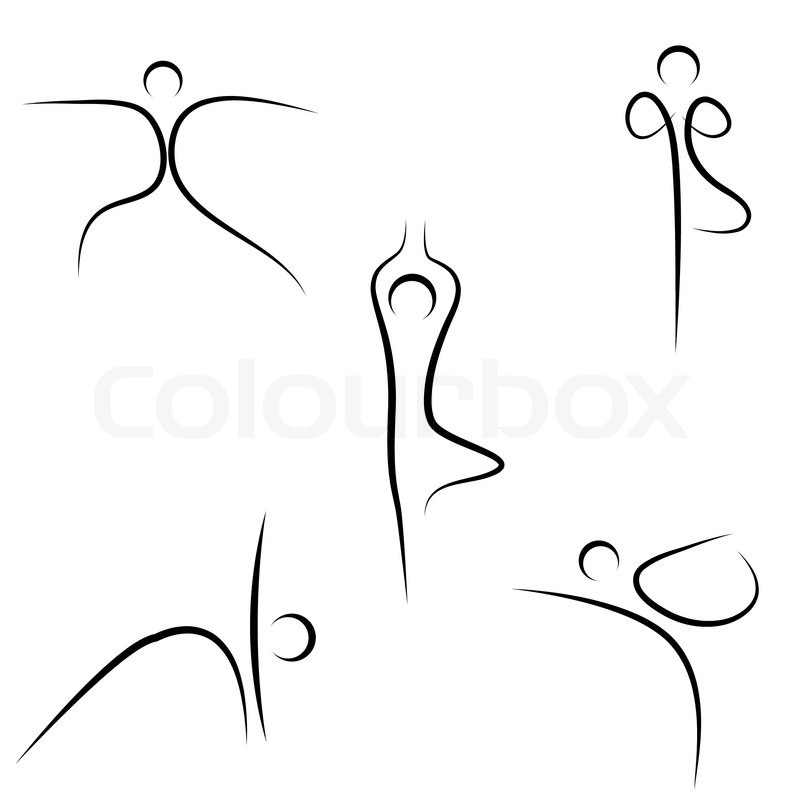 Illustration Of Yoga Sketch On White Background