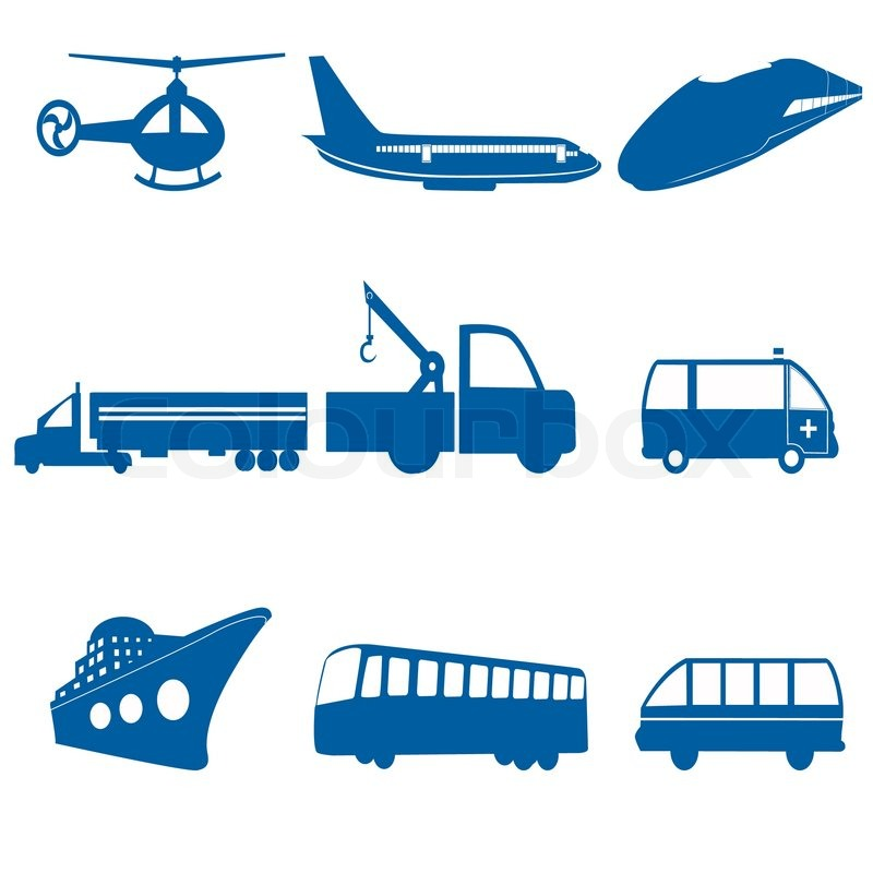 illustration of transportation icons on white background stock