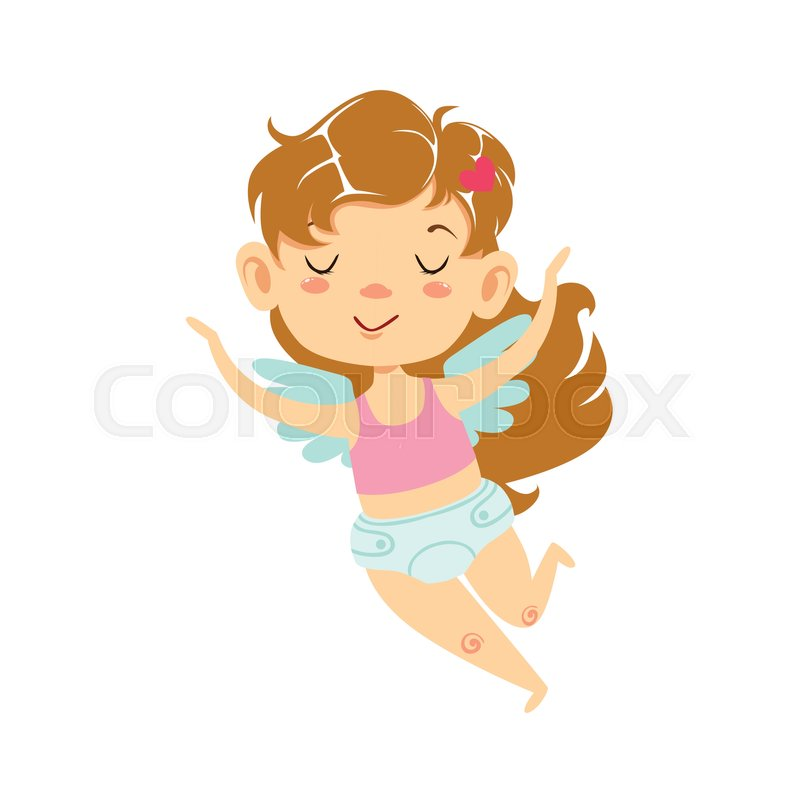 Girl Baby Cupid Flying Winged Toddler In Diaper Adorable Love - Toddler-cartoon-characters