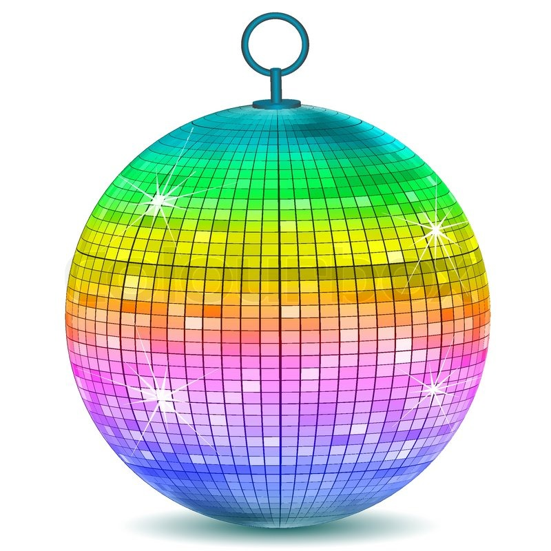 Illustration of colorful disco ball on white background for Disco ball coloring page