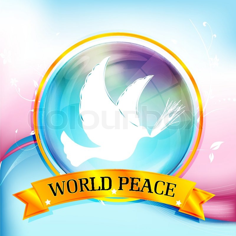 Illustration Of World Peace With Bird On Colorful Background Stock