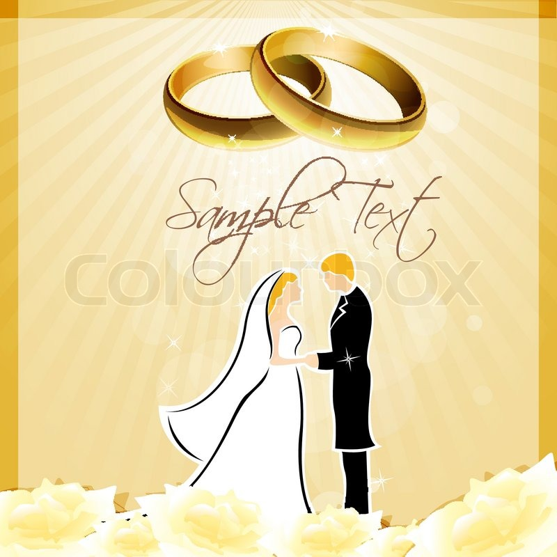 illustration of engagement card with ring and couples stock vector colourbox - Engagement Cards
