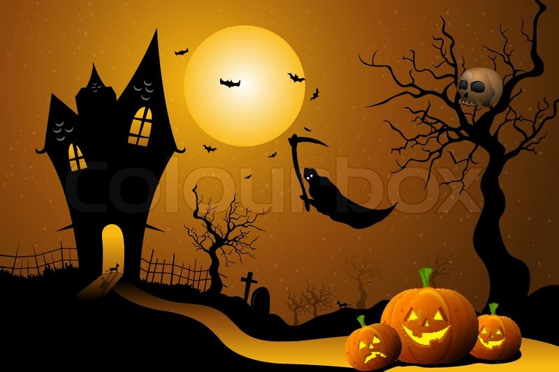Illustration Of Ghost Flying In Halloween Night