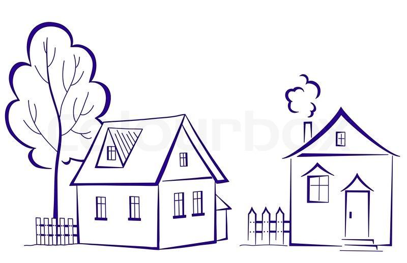 karikatur landschaft zwei h user mit einem baum monochrome symbolischen piktogramm. Black Bedroom Furniture Sets. Home Design Ideas