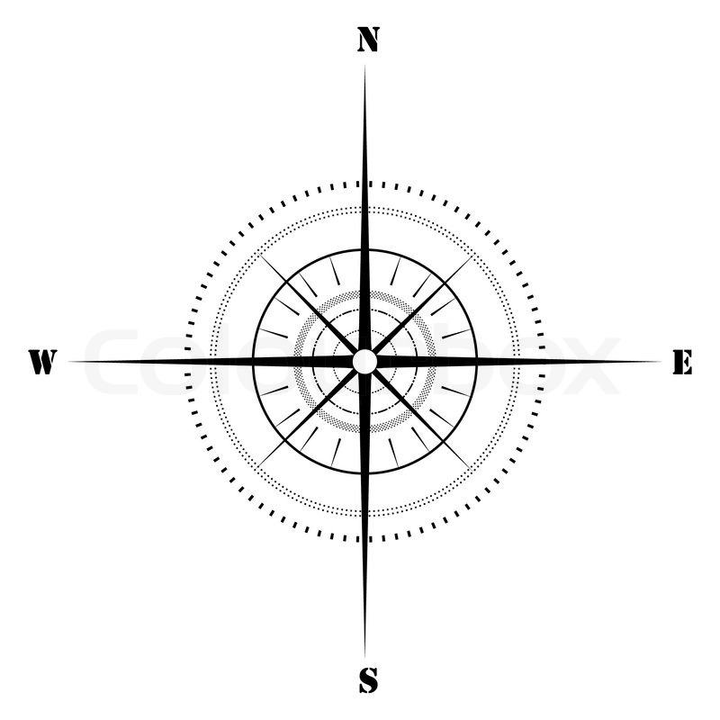 Illustration Of Sketchy Compass On Isolated Background