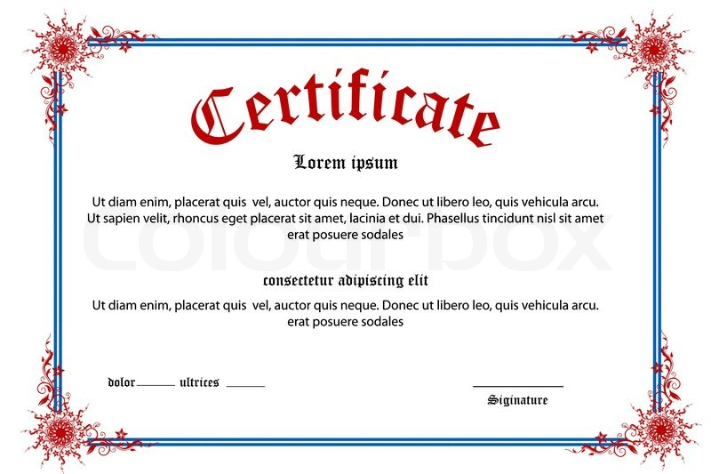 Illustration of floral certificate on white background | Stock ...