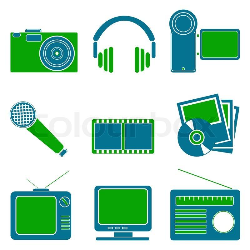 Illustration Of Entertainment Symbols On White Background Stock