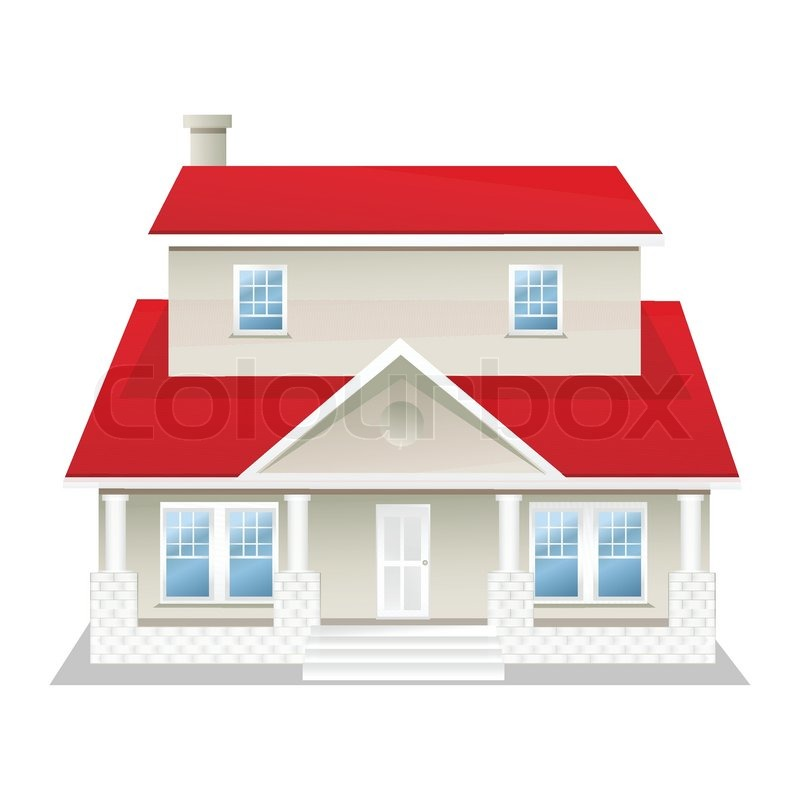 Illustration of vector house on an isolated background for Getting a loan to buy land and build a house