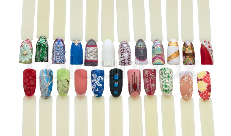 Nail Art Handmade Samples Isolated On White Design Templates For
