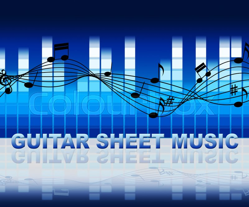 Guitar Sheet Music With Notes Notation Shows Musical Score, stock photo