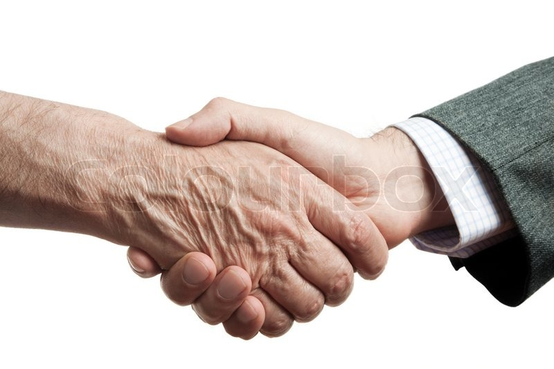 Welfare For Rich >> Handshake of businessman and poor man, isolated on white background, focus point on center ...