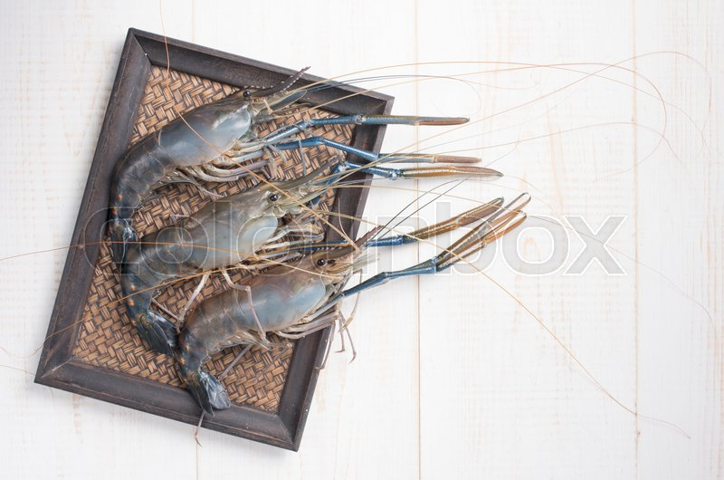 Giant river prawn on wood , top view | Stock image | Colourbox