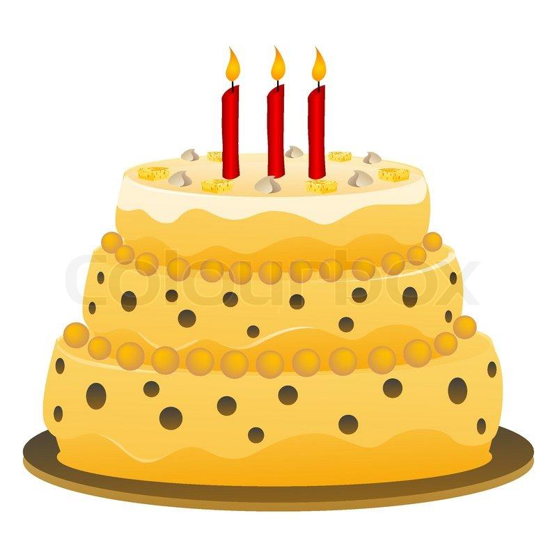Illustration of birthday cake on white     | Stock vector