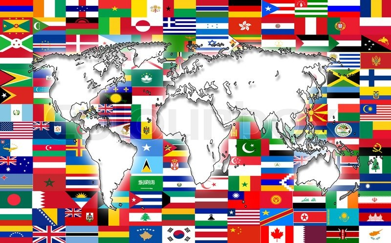 Flag World Map.World Map On The Background Of Flags Stock Photo Colourbox
