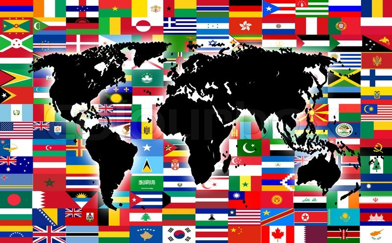 World map on the background of flags stock photo colourbox gumiabroncs Image collections