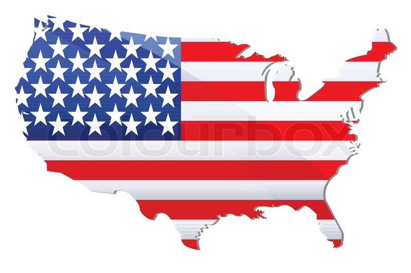 Illustration Of Flag Of United States Of America In Shape Of - Usa map shape