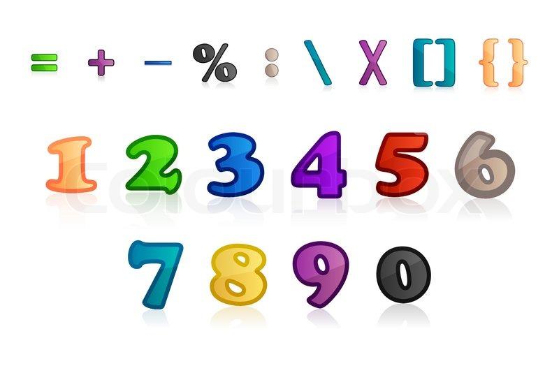 Hypermoderne Illustration af sæt af tal og | Stock vektor | Colourbox YL-74