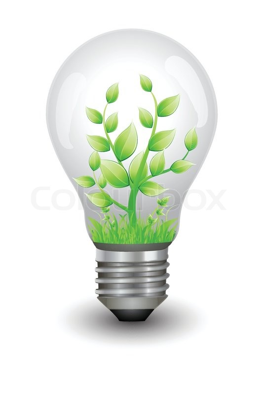 Illustration Of Plant Growing Inside Electric Bulb Stock