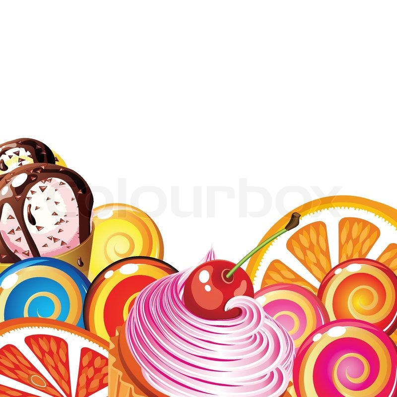 Stock vector of 'Border of sweets, cakes, fruit, berries and ice cream.'