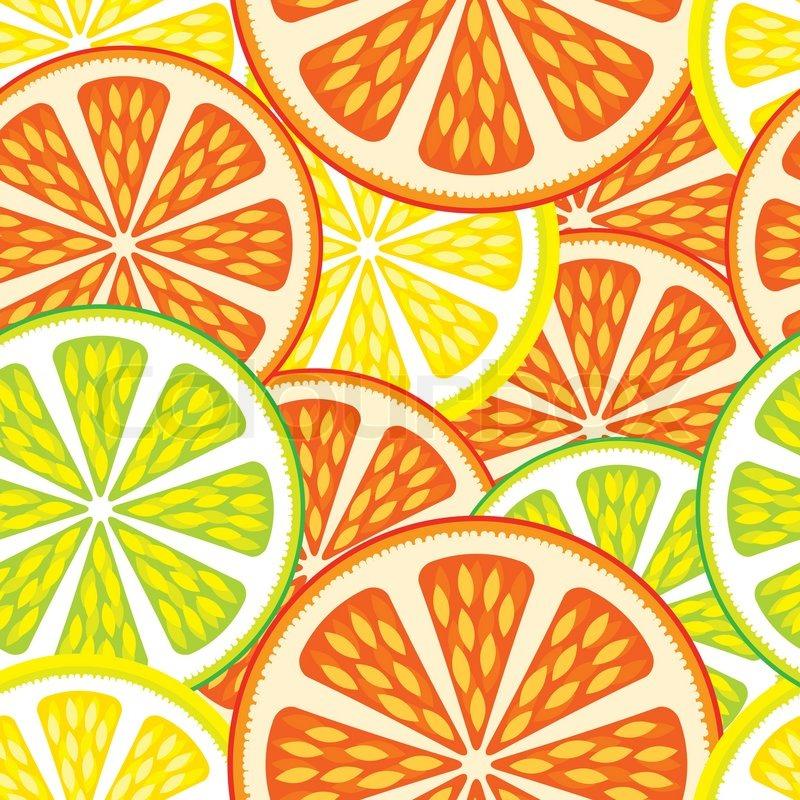 Seamless Background Citrus Mix Stock Vector Colourbox