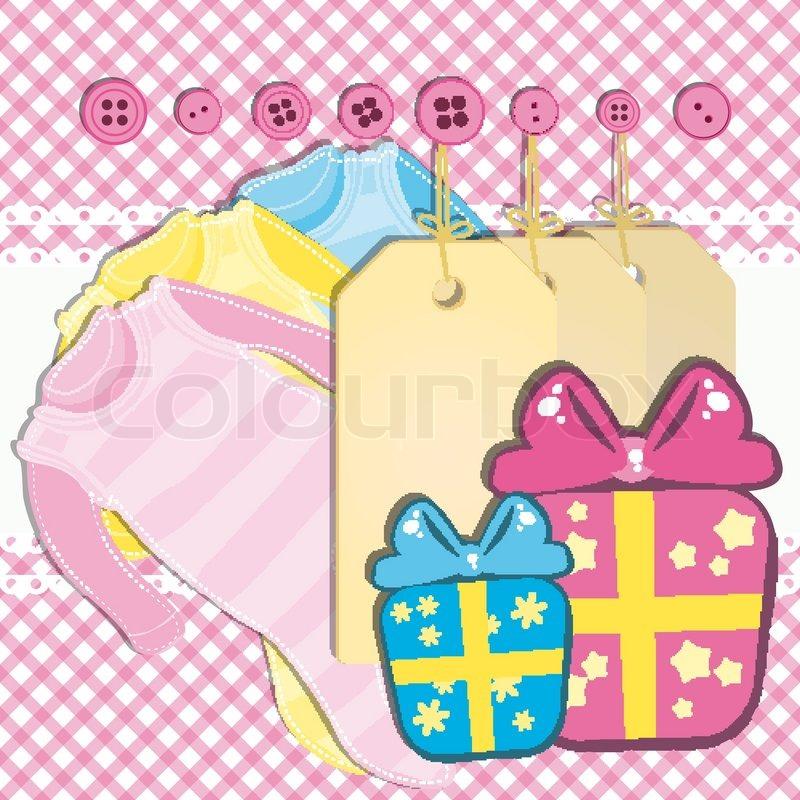 Baby Gift Vector : Baby girl gift card stock vector colourbox