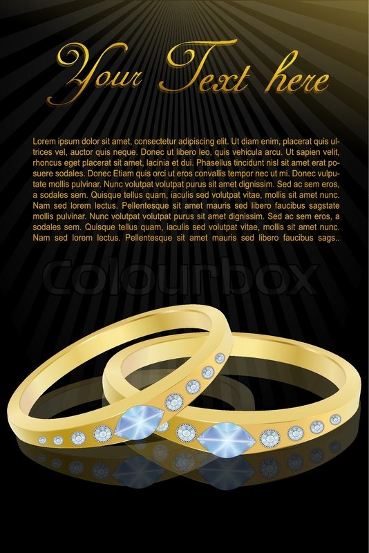 Illustration of gold wedding rings in abstract background with