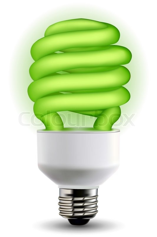 Illustration Of Green Cfl Bulb On Isolated Background