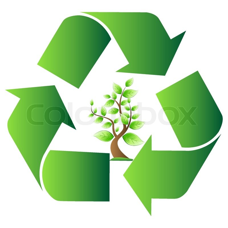 Illustration Of Vector Recycle Symbol With Tree On Isolated