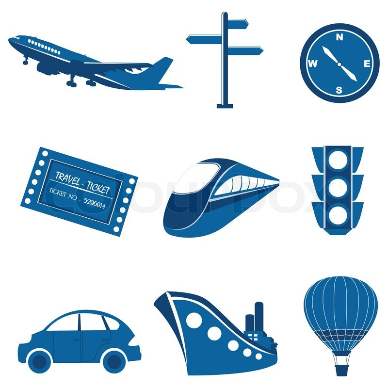 Illustration Of Set Of Transportation Icon On Isolated Background Stock Vector Colourbox