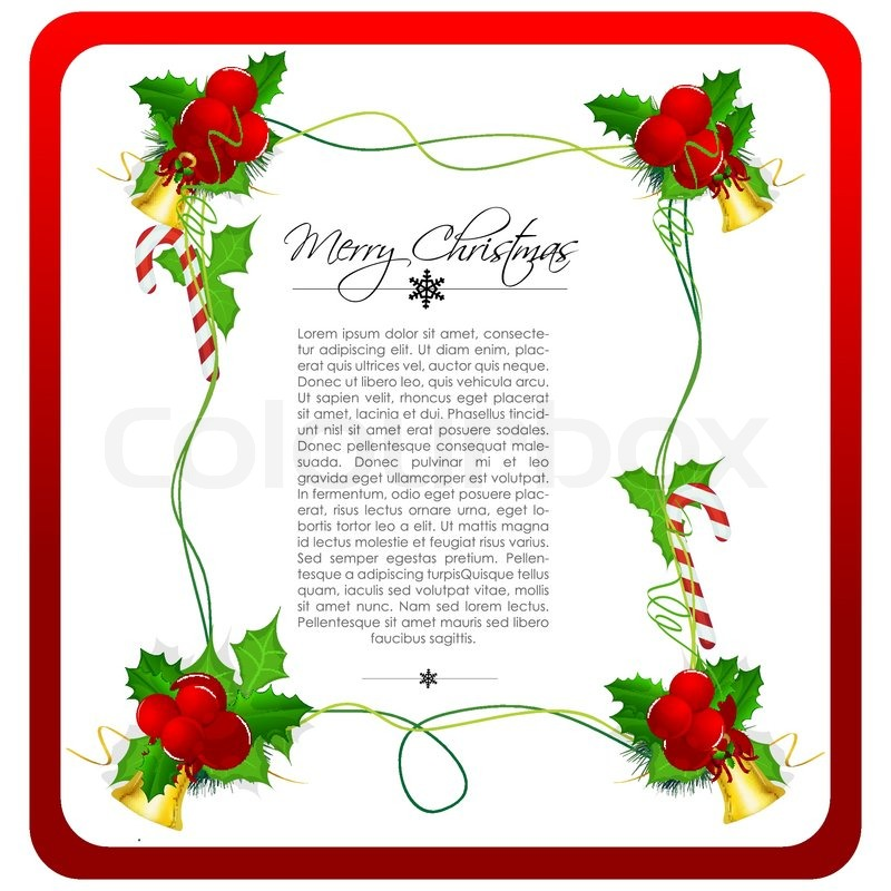 illustration of classical christmas card with bells and cherry stock vector colourbox - Classical Christmas