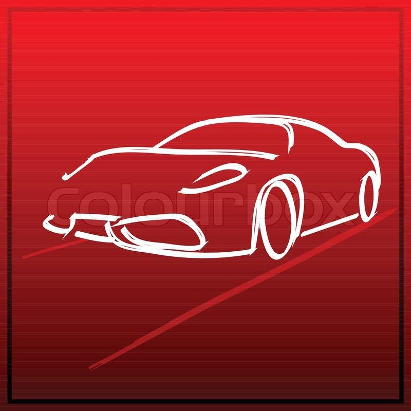 Illustration von Auto -Symbol in der Skizze zu sehen auf hellem ...