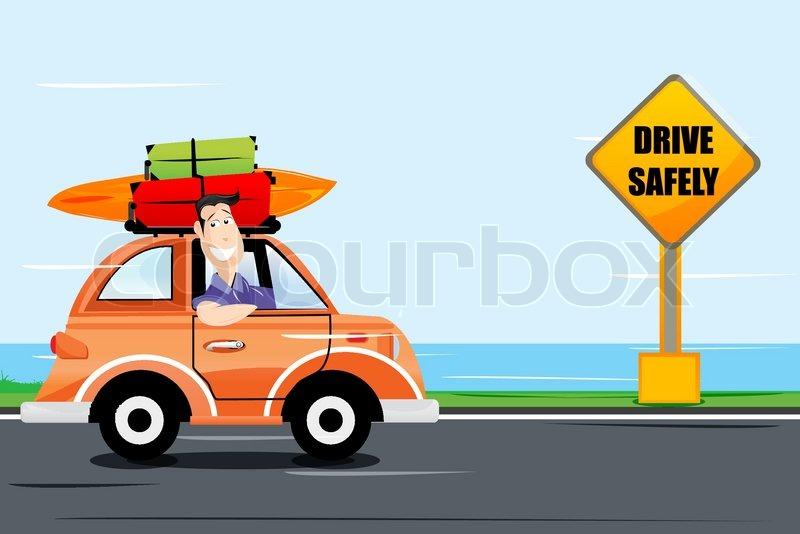 Dangerous Lady Driving A Car Cartoon