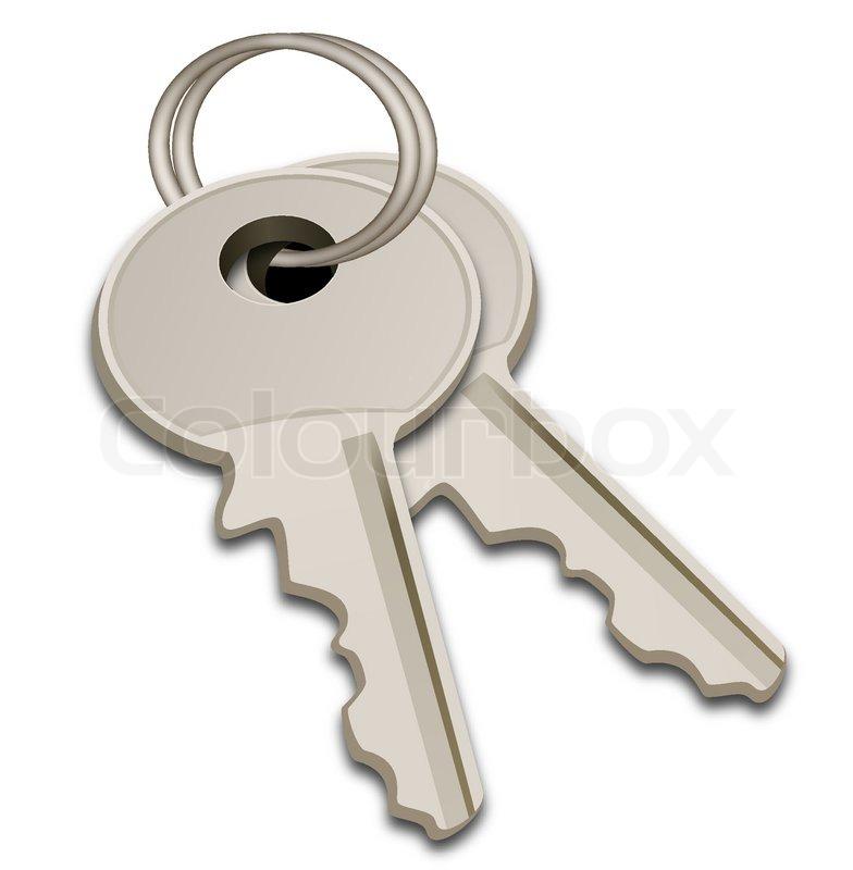 Illustration Of Steel Keys On White Background Stock