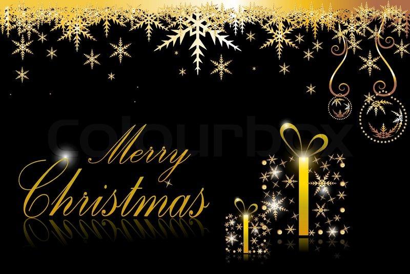 Illustration Of Golden Christmas Card On White Background, Vector