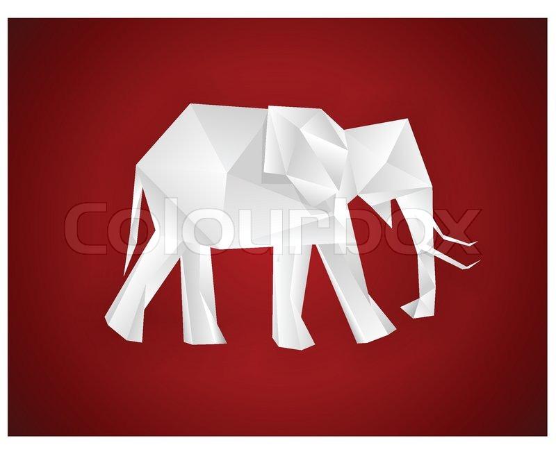 origami papier elefant auf rot vektor eps8. Black Bedroom Furniture Sets. Home Design Ideas