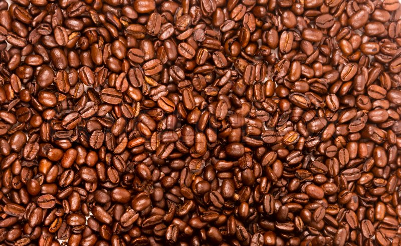 Dark Brown Roasted Coffee Seeds Beans Food Drink Ingredient, stock photo