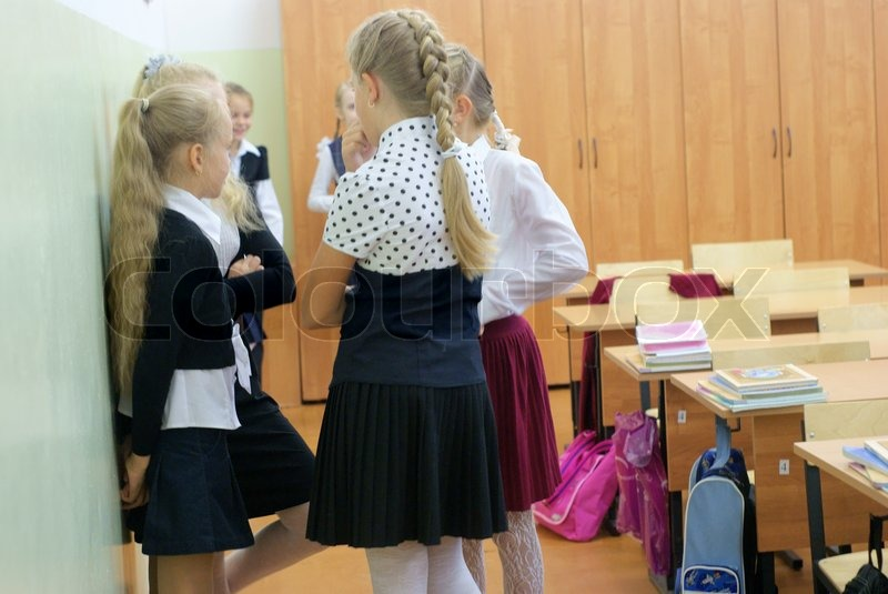 Schoolgirls In Classroom Stock Photo Colourbox