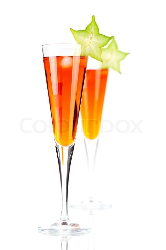 Orange alcohol cocktail with carambola ... | Stock Photo ...