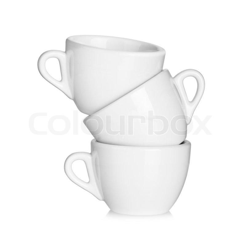 coffee collection drei wei e tassen auf wei em. Black Bedroom Furniture Sets. Home Design Ideas