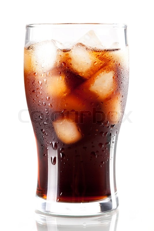 Fresh Cold Cola With Ice In Glass Isolated On White