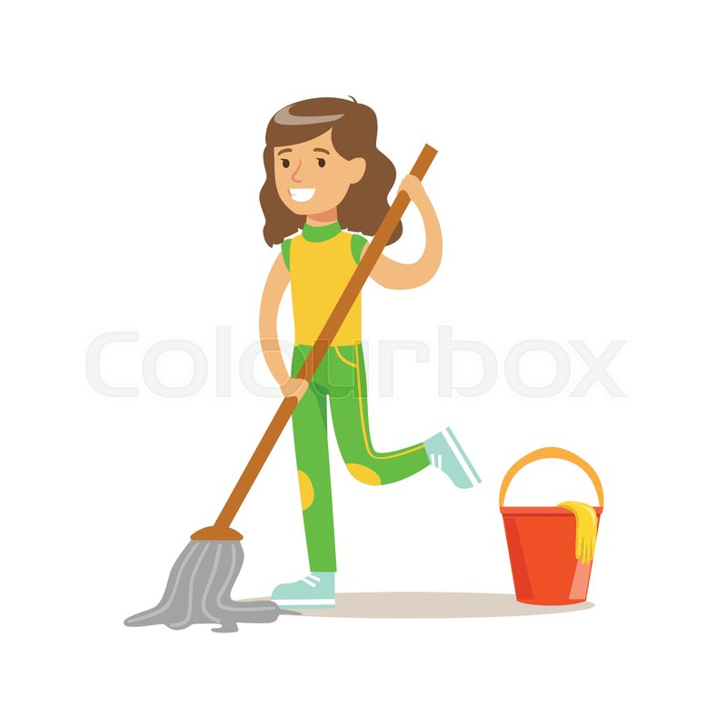 Girl Washing The Floor With Mop And Water Smiling Cartoon